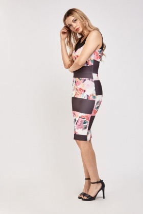 Printed Crochet Insert Midi Dress