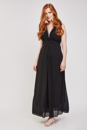 Ruched Gathered Chiffon Maxi Dress