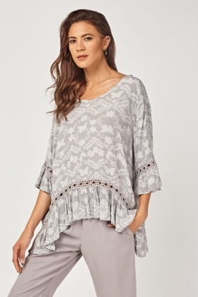 Crochet Trim Frilly Tunic Top