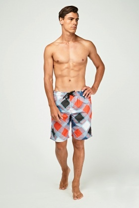Diamond Print Swim Shorts