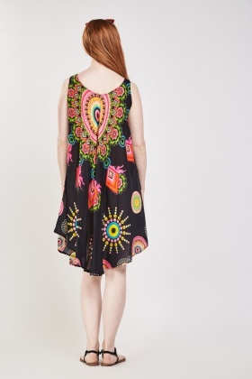 Multi Ethnic Print Tent Dress
