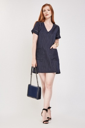 Pin Striped Mini Shift Dress