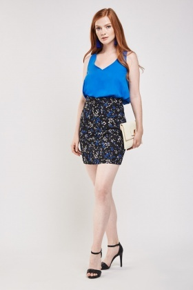 Printed High Waist Mini Skirt