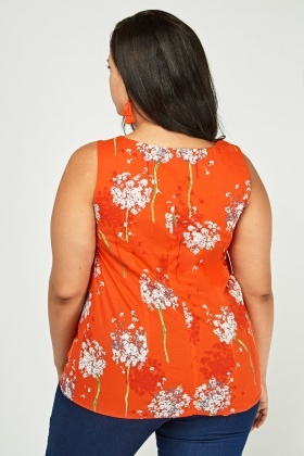 Printed Sleeveless Tunic Top