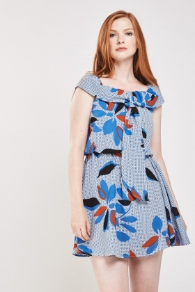 Printed Tie Up Frilly Dress