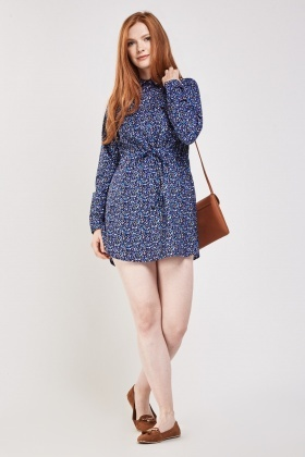 Speckle Print Mini Shirt Dress