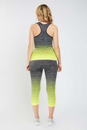 Speckled Ombre Sports Tank Top And Cropped Leggings Set