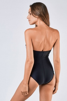 Strapless Sweetheart Pleated Swimsuit