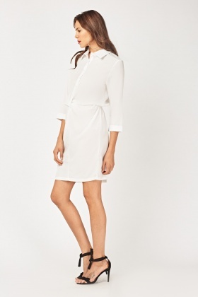 Twisted Chiffon Shirt Dress