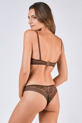 Balconette Embroidered Laced Bra And Brief Set