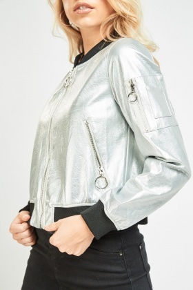 Embroidered Patch Back Bomber Jacket