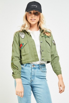 Embroidered Patch Trim Military Jacket
