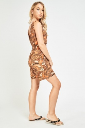 Paisley Print Wrap Playsuit
