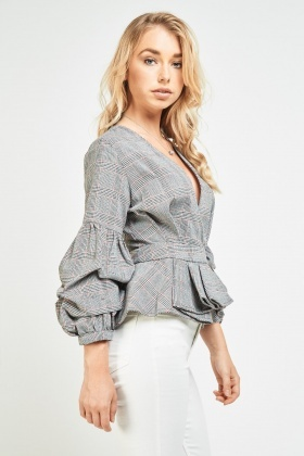 Pleated Hem Plaid Peplum Top