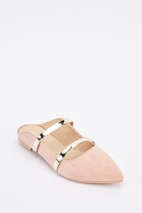 Contrast Strap Slip On Shoes