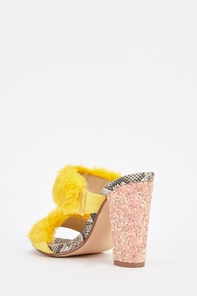 Double Fluffy Strap Mules