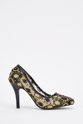 Embroidered Mesh Overlay Court Heels