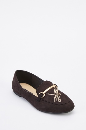 Embroidered Suedette Flat Loafers