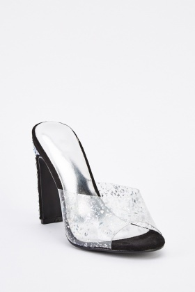Encrusted Transparent  Slip-On Heels