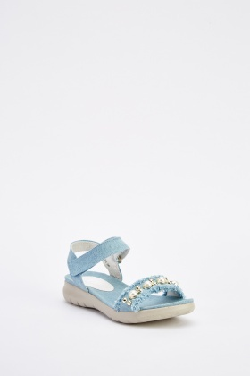 Faux Pearl Trim Denim Sandals