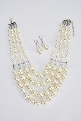Graduated Faux Pearl Necklace And Earrings Set