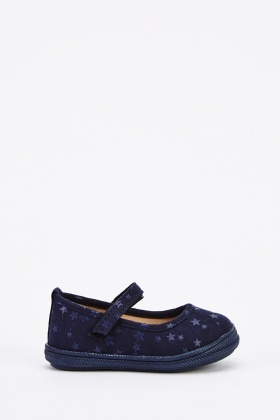 Kids Suedette Star Print Pumps