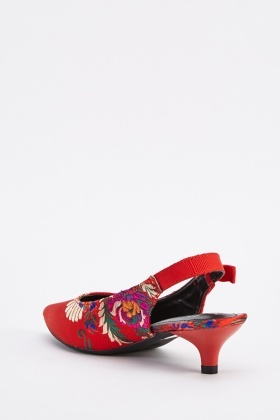 Sateen Embroidered Sling Back Heels