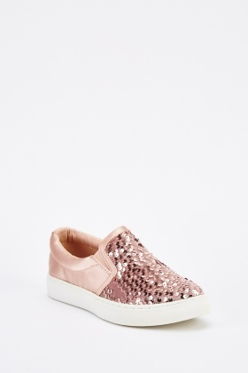 Sateen Sequinned Slip-On Plimsolls