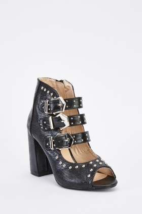 Studded Cut Out Peep Toe Boots