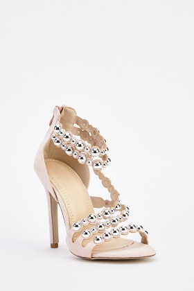 Studded Scallop Cut Heeled Sandals