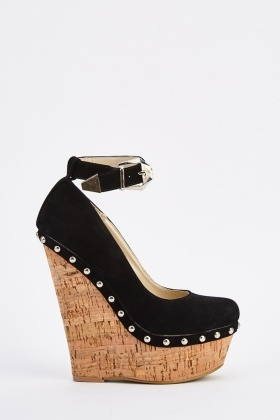 Suedette Studded Ankle Strap Wedge