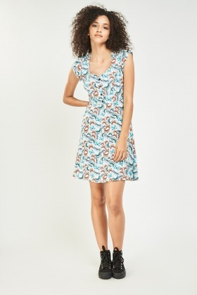 Butterfly Print Ruffle Tea Dress