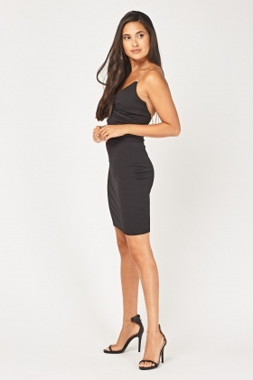 Chain Strap Ruched Bodycon Dress