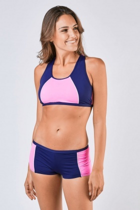 Colour Block Tank Bikini Set