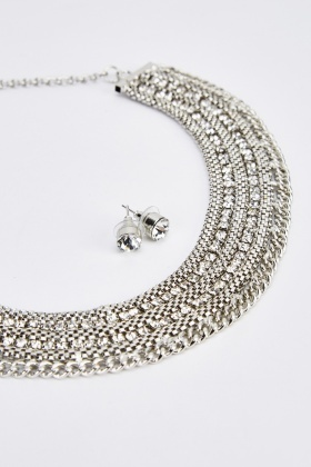Contrast Esclavage Necklace And Earrings Set