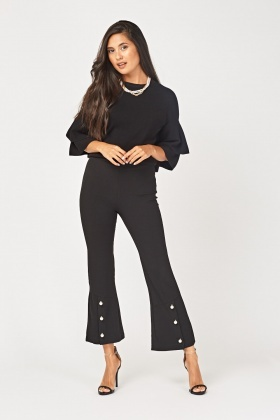 Faux Pearl Embellished Flared Trousers