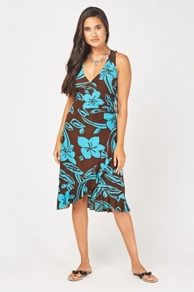 Printed Ruffle Ruched Wrap Dress