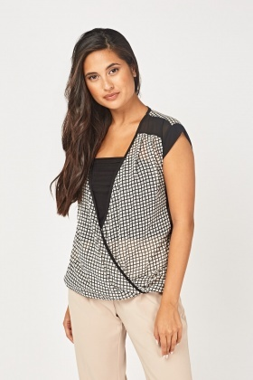 Window Pane Sheer Wrap Top