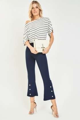 Faux Pearl Trim Flared Trousers