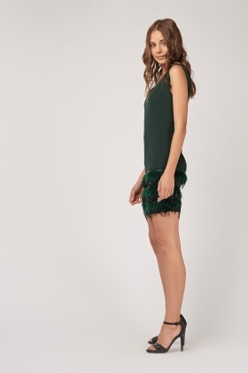 Feather Layered Trim Shift Dress