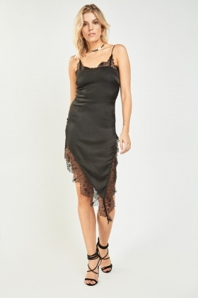 Lace Sateen Slip-On Asymmetric Dress