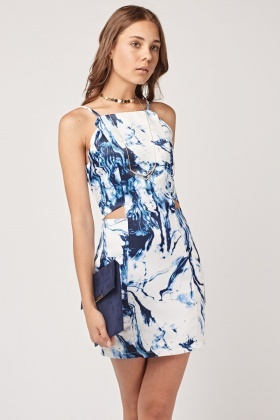 Marble Print Cut Out Front Dress