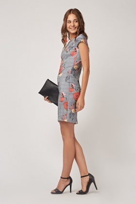 Mix Print Cap Sleeve Dress