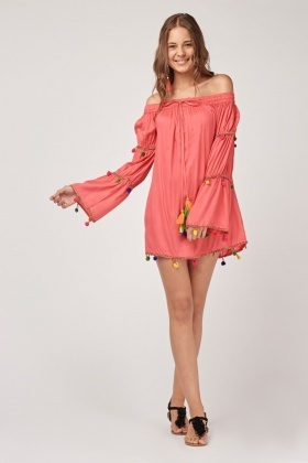 Off Shoulder Pom-Pom Trim Dress