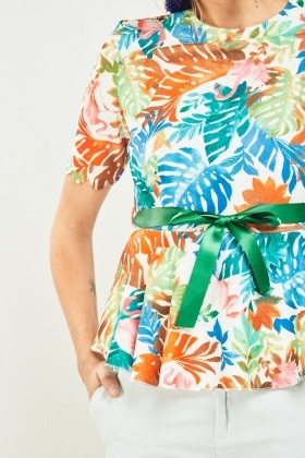 Printed Scallop Trim Peplum Top