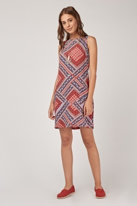 Printed Twin Pocket Front Dress