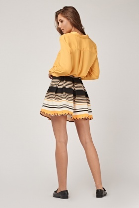 Striped Box Pleated Mini Skirt