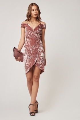 Velveteen Wrap Plunge Dress