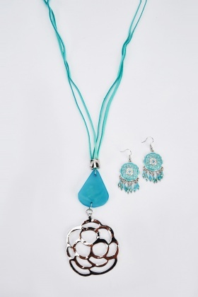 Contrast Rope Necklace And Earrings Set