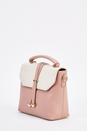 Contrasted Faux Leather Flap Bag